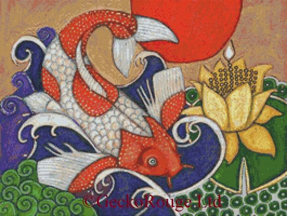 Leaping Koi By Lynnette Shelley Cross Stitch Kit
