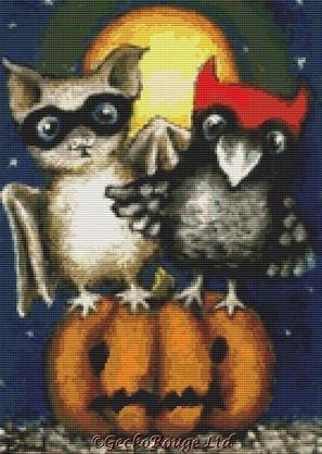 Little bat and raven doing trick-or-treat on a Halloween night By Tanya Bond Cross Stitch Kit