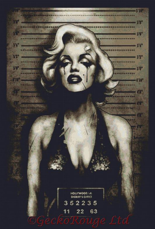 Marilyn Mugshot By Marcus Jones Cross Stitch Kit