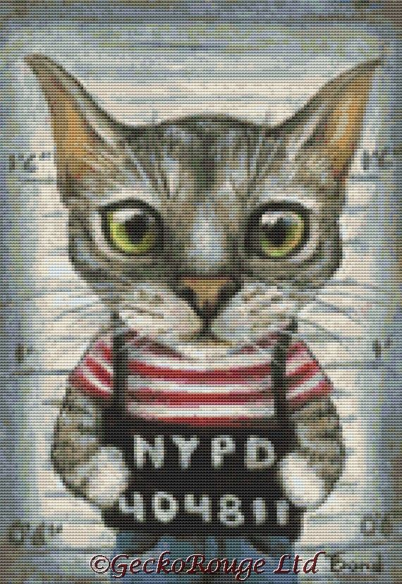 Mugshot of a cat felon arrested while attempting a New York bank heist By Tanya Bond Cross Stitch Kit