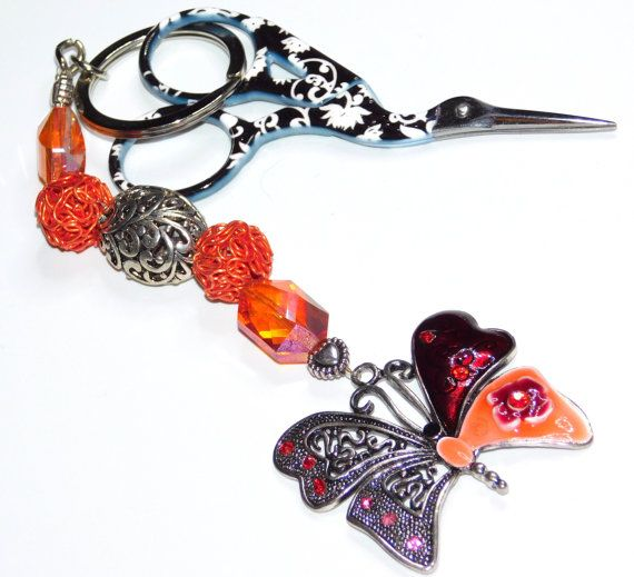 Orange Butterfly  Scissor Fob, Key ring