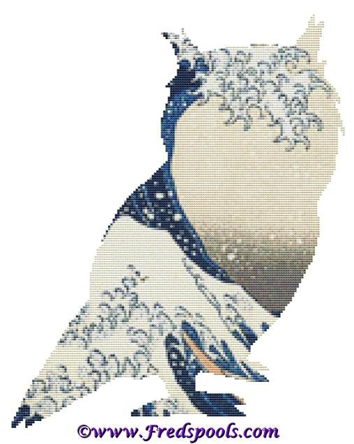 Owl 1 Great Wave Cross Stitch Kit By FredSpools (FSPOWLWAVE)