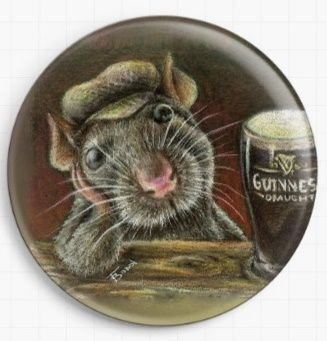 Paddy The Rat Drinking Guinness In A Quiet Pub By Tanya Bond Licensed Art Needle Minder