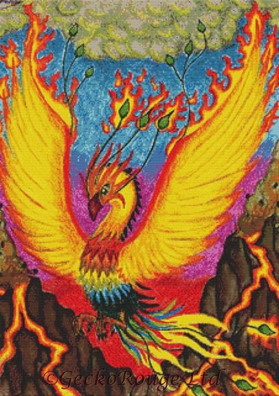 Phoenix By Angel Kitten Art Cross Stitch Kit