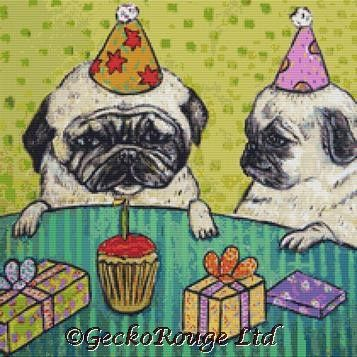 Pug Birthday By Jay Schmetz Cross Stitch Kit (JSPGBTH)