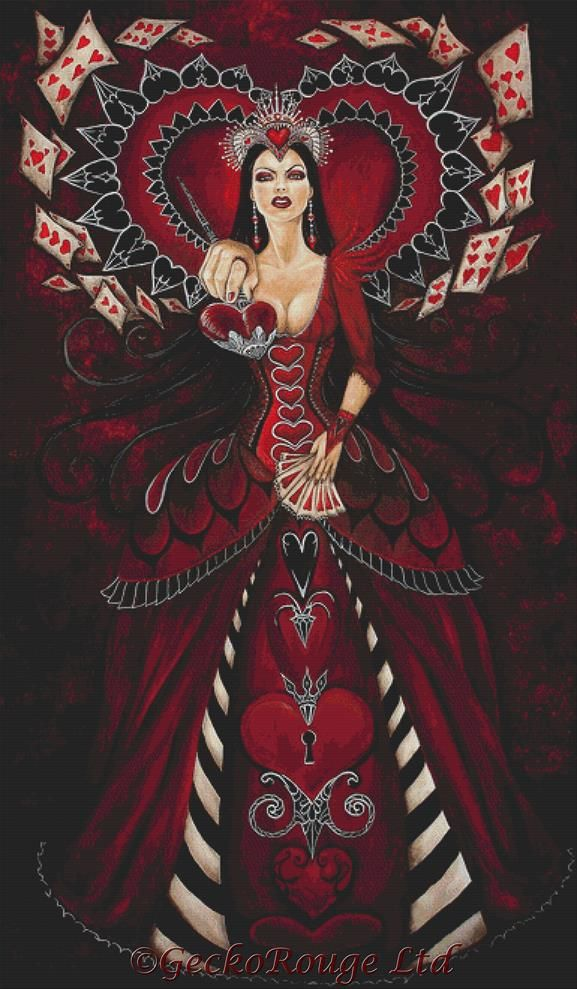 Queen of Hearts By Megan Mars Cross Stitch Kit - Large
