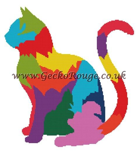 Rainbow Cat Cross Stitch Kit By FredSpools