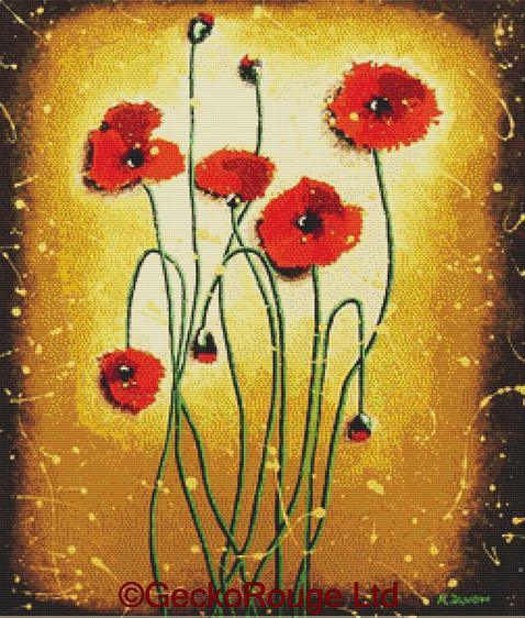 Red Poppies By Helen Janow Miqueo Cross Stitch Kit