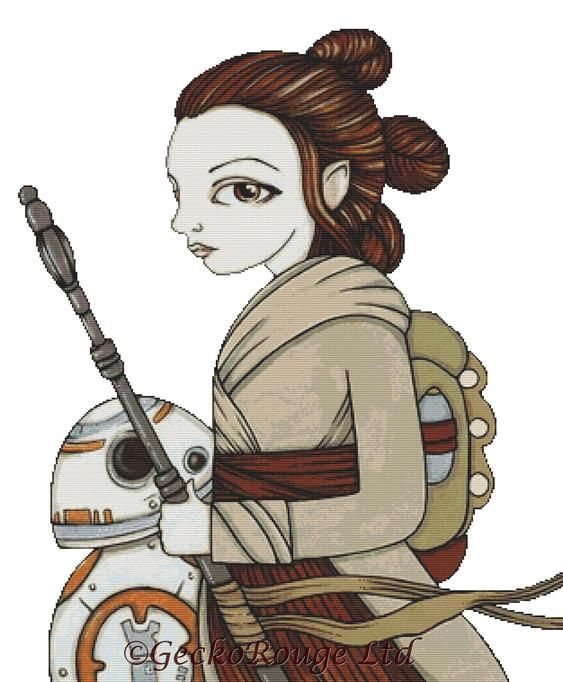 Rey and BB8 By Anita Inverarity Cross Stitch Kit (AIVREBB8)