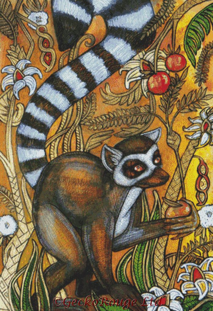 Ring Tailed Lemur By Lynnette Shelley Cross Stitch Kit