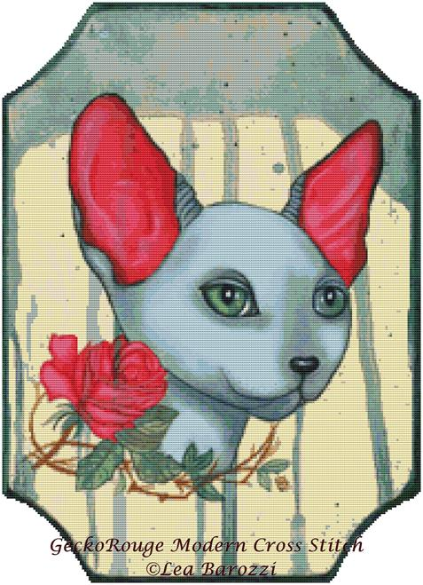 Rose by Lea Barozzi Cross Stitch Kit (LBZROSE) - Cat