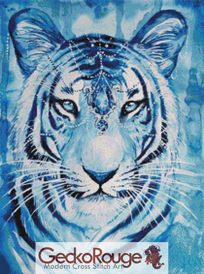 Sapphire Tiger Cross Stitch Kit By Scandy Girl (SHSAPH)