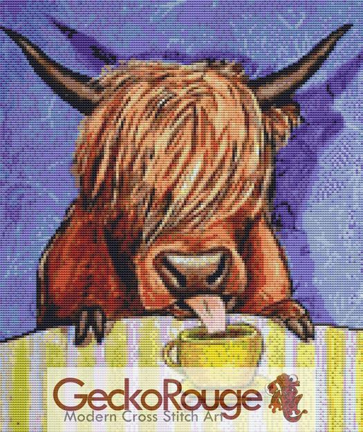 Scottish Highland Cow Drinking Coffee By Jay Schmetz Counted Cross Stitch Kit (JSSHCCSP)