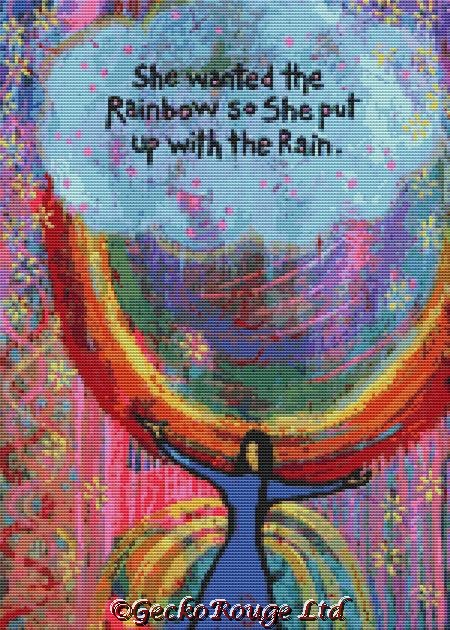 She Wanted The Rainbow So She Put Up With The Rain 2 By Lindy Gaskill Cross Stitch Kit