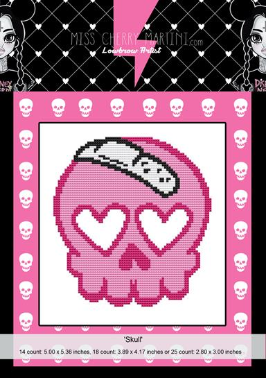 Skull By Miss Cherry Martini Cross Stitch Kit