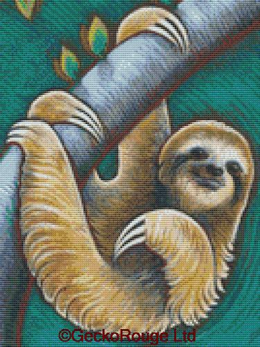 Sloth By Eya Claire Floyd Counted Cross Stitch Kit
