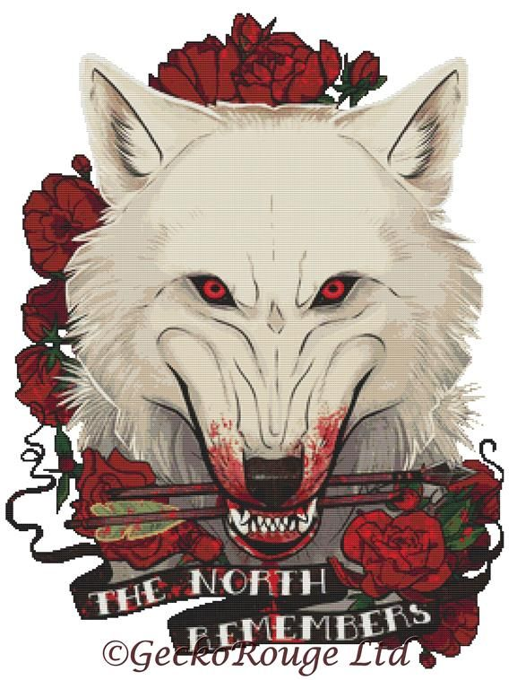 The North Remembers By Dailen Ogden Cross Stitch Kit - Wolf