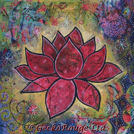 Transcend By Lindy Gaskill Cross Stitch Kit - Lotus Flower (LGTRND5)