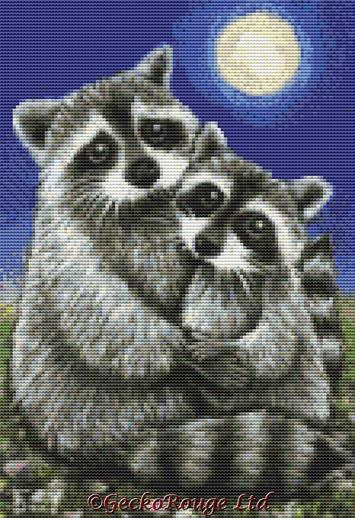 Two Raccoons Madly In Love By Tanya Bond Cross Stitch Kit