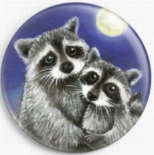 Two Raccoons Madly In Love By Tanya Bond Licensed Art Needle Minder