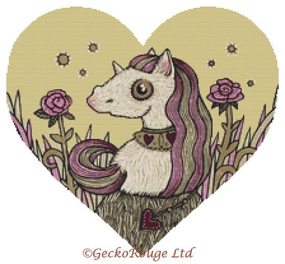 Valentine Unicorn By Anita Inverarity Cross Stitch Kit (AIVVALUNC)