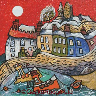 Winter Harbour - Tenby By Dorian Spencer Davies Art Cross Stitch Kit (DDWNTNBY)