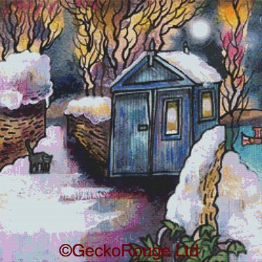 Winter Shed - Laugharne By Dorian Spencer Davies Art Cross Stitch Kit (DDWSL)