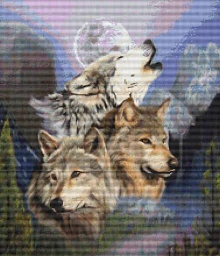 Wolves By April Rafko Cross Stitch Kit - Wolf